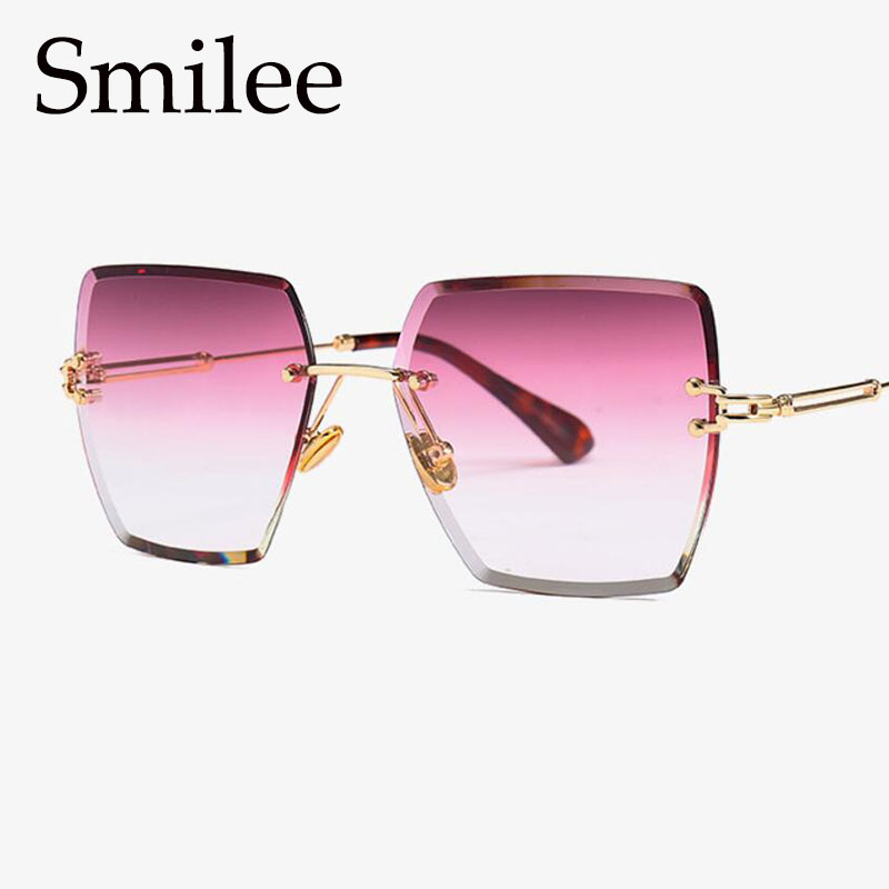d5c135ab31e45 Gradiente sem aro de Lente de óculos de sol das mulheres de grandes  dimensões óculos de