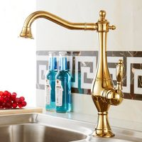 New Single Lever Kitchen Faucet With Mixer Hot And Cold Water Tap Pull Out Golden Painting