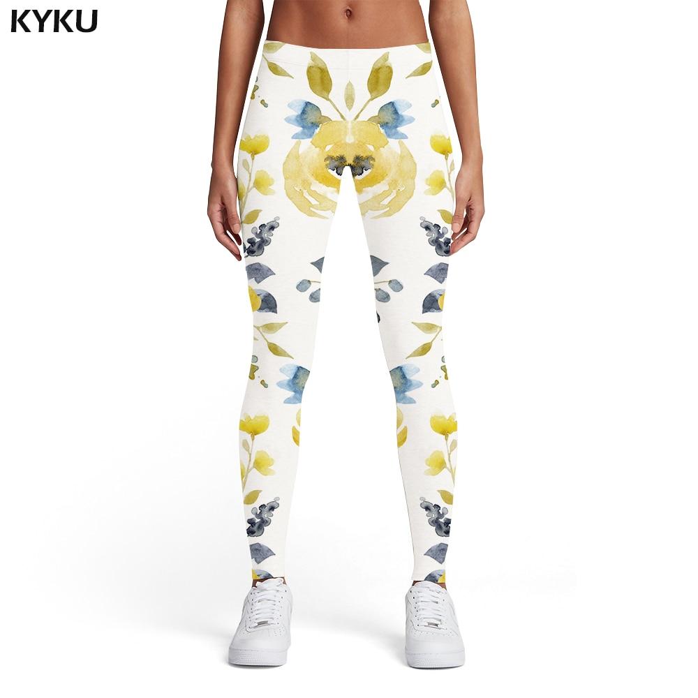 Kyku Flower Leggings Women Graffiti Spandex Colorful Trousers Art 3d Print Ink Elastic Womens Leggings Pants Jeggings