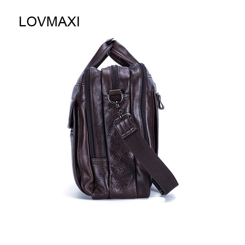 Lovmaxi 100% 정품 가죽 남성 서류 가방 남성 비즈니스 핸드백 인과 노트북 가방 메신저 가방 대형 여행 가방-에서서류 가방부터 수화물 & 가방 의  그룹 3