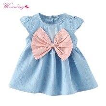 Kids Clothes Baby Girls Bow-knot Design Mini Dress Children Baby Summer Short Sleeve Party Dress 2018