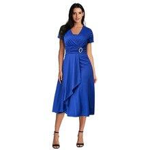 JAYCOSIN Women's Clothing Sexy V-Neck Short Sleeve Dress Ladies Fashion Casual Plus Size Summer Hem Ruffled Party Belt Dress