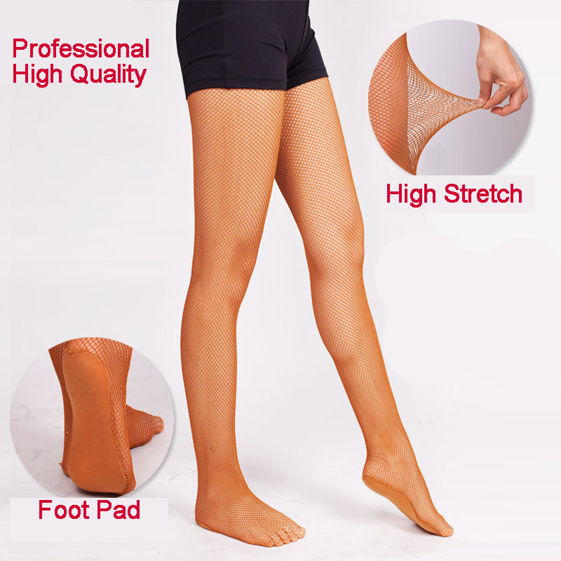 Wholesale Discount Thick Hard Mesh Joined Yarn Stretch Professional Ballroom Latin Fishnet Dance Tights
