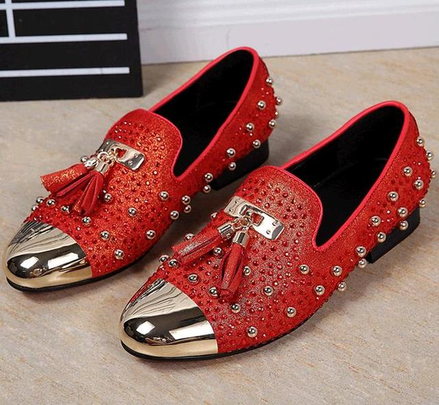 New red men shoe tassel crystal men wedding and party loafers gold metallic men dress shoes men's flat