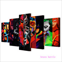 Joker Harley Quinn Death Squads 5 Pieces Canvas Painting Print Living Room Home Decor Modern Wall Art Oil Painting