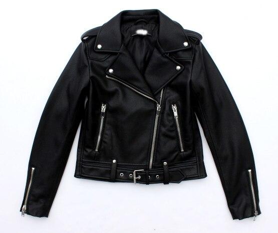 WISHBOP 2017ss Black Faux PU Leather Biker Jacket Lapel Collar Press button Zipper Pokcets Hem Belted With Buckles Zips cuffs