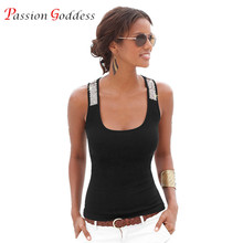 Plus Size 2XL 3XL 2016 Summer Women's Tanks Sleeveless Sequin Patchwork Slim Sexy Tank Tops Black White Blue RoseRed Vest Female