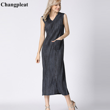 купить Changpleat 2019 Summer New sleeveless dresses Miyak Pleated Fashion V-neck Big elastic Slim Large Size Female Maxi Dress Tide по цене 4605.43 рублей