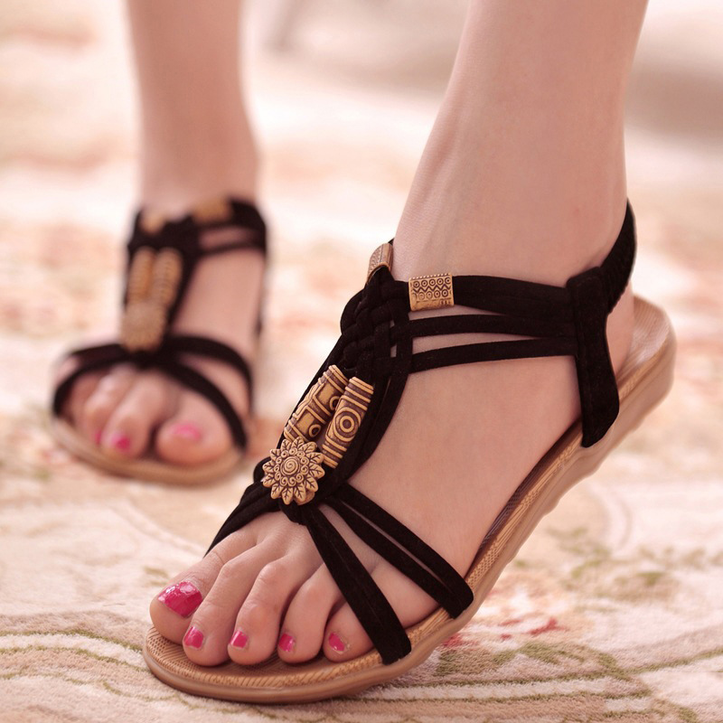 KUIDFAR Femmes Sandales De Mode D'été Chaussures Femmes Gladiateur Sandales D'été Plage Chaussures Femme Dames Sandales Zapatos Mujer Noir