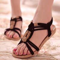 KUIDFAR sandalias de Mujer, Zapatos de verano a la moda, sandalias de gladiador para Mujer, Zapatos de playa de verano para Mujer, sandalias para Mujer, Zapatos negros para Mujer
