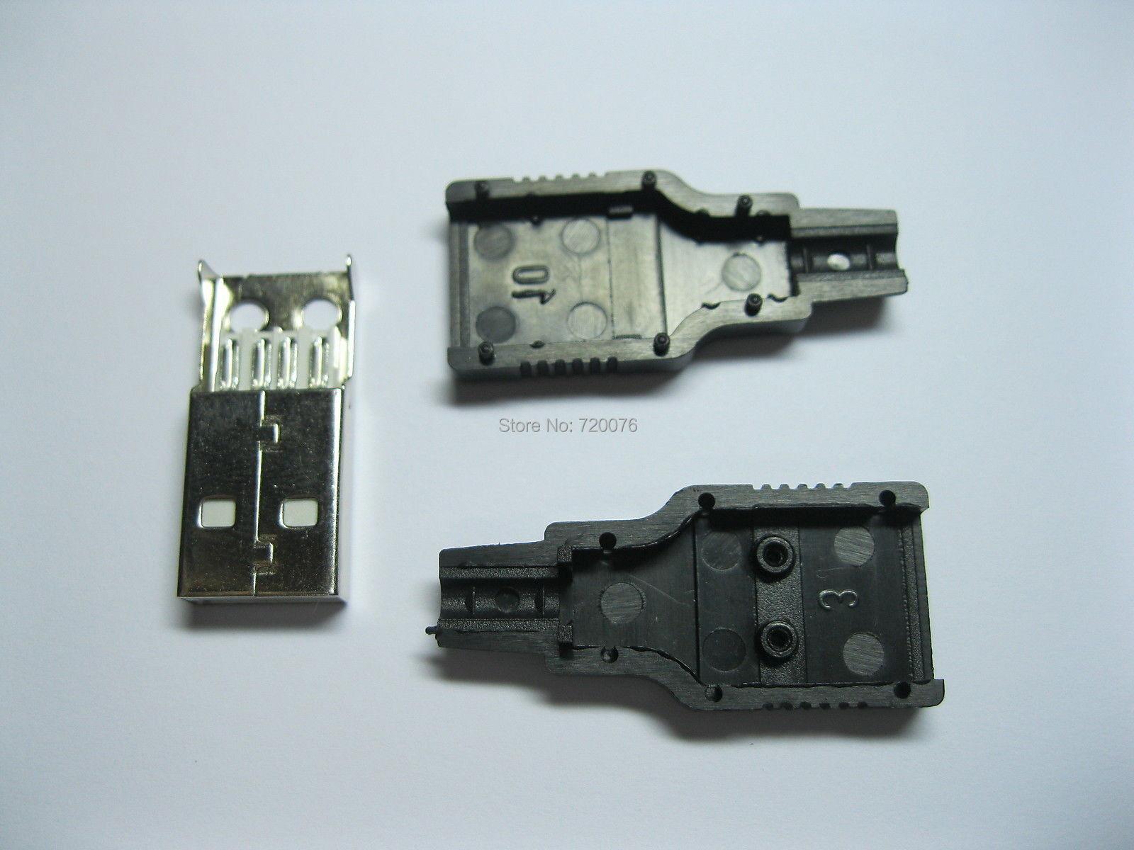 120 pcs A/M Solder 3-Piece 4 pin USB Male Plug Connector Black Plasitc Cover 10 pcs d sub vga db 15 pin male solder type connector socket 2 rows db15f male