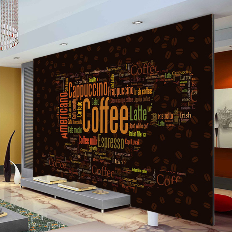 Coffee letters wallpaper custom 3d wall mural fashion for Room decor shopping