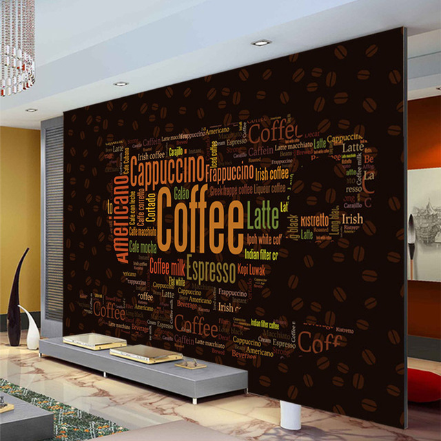 Buy coffee letters wallpaper custom 3d for Mural coffee shop