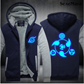 Naruto Hoodies Coat Sasuke Cosplay Zipper Cardigan Jacket Tide Fashion Men Sweatshirt Anime Logo Luminous Hoody Coat