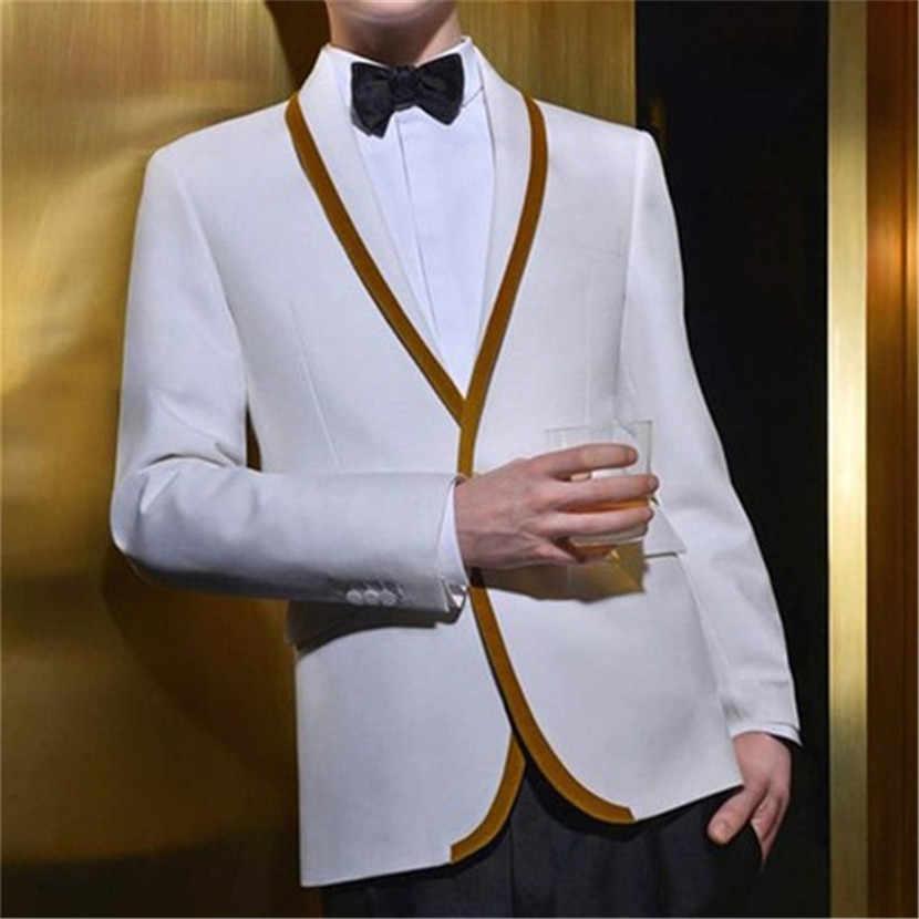 Белый золотой отделкой Для мужчин костюмы Летний Стиль 2 шт. (куртка + брюки + галстук) Ternos Masculinos Slim Fit Нарядные Костюмы для свадьбы свадебные смокинги блейзер