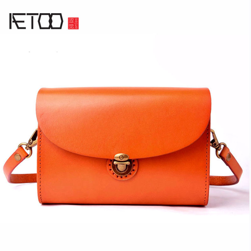 AETOO Original wild small party bag Messenger bag retro simple first layer leather vegetable tanned handmade flip female bag aetoo simple first layer leather short distance travel bag men s handmade original retro tanned leather hand luggage bag leather
