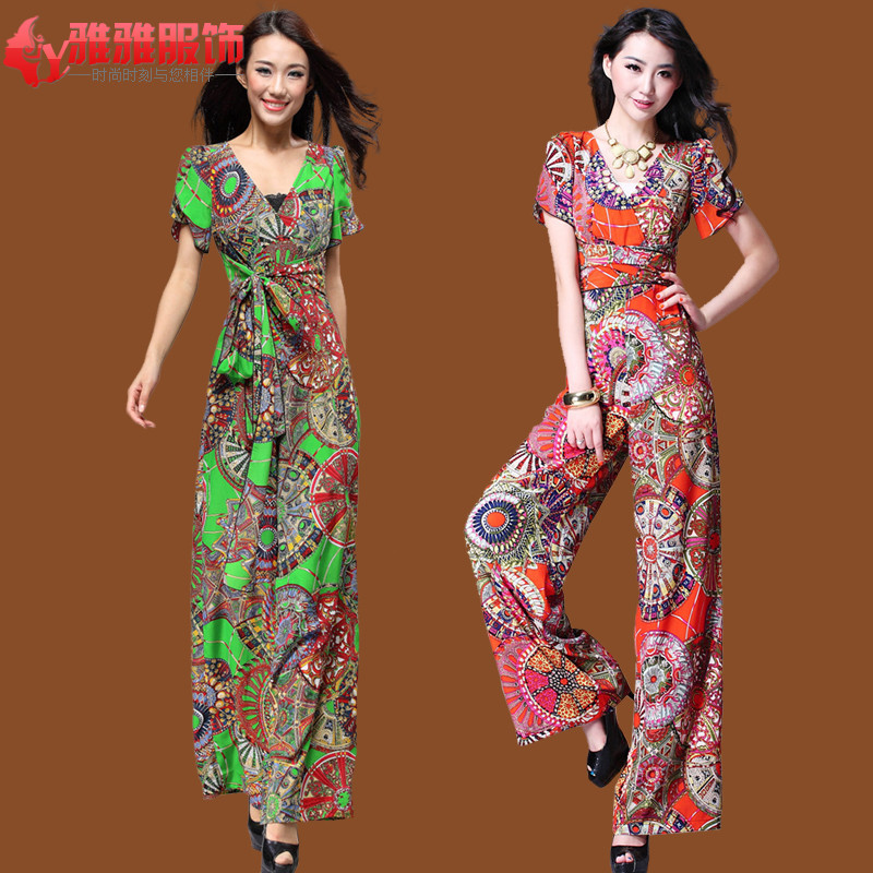 09b8a579c719 Jumpsuit Women 2013 with Sleeves Sexy Women jumpsuits and Rompers XL Print  Wide Leg Jumpsuit Loose Female Overalls Free shipping