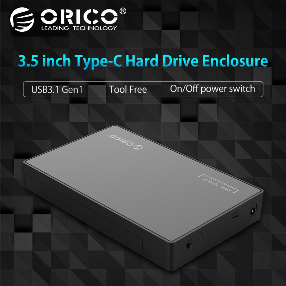 ORICO 3.5 HDD Caddy Case USB 3.1 Gen 1 Type C to SATA External HDD Case Up to 8TB Support UASP Tool Free for SATA HDD/SSD ugreen hdd enclosure sata to usb 3 0 hdd case tool free for 7 9 5mm 2 5 inch sata ssd up to 6tb hard disk box external hdd case