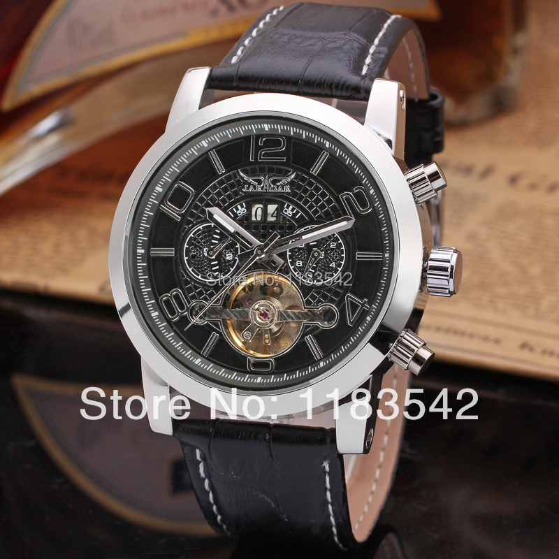 Jargar new Automatic fashion dress watch tourbillon silver color for men  free shipping JAG165M3S2