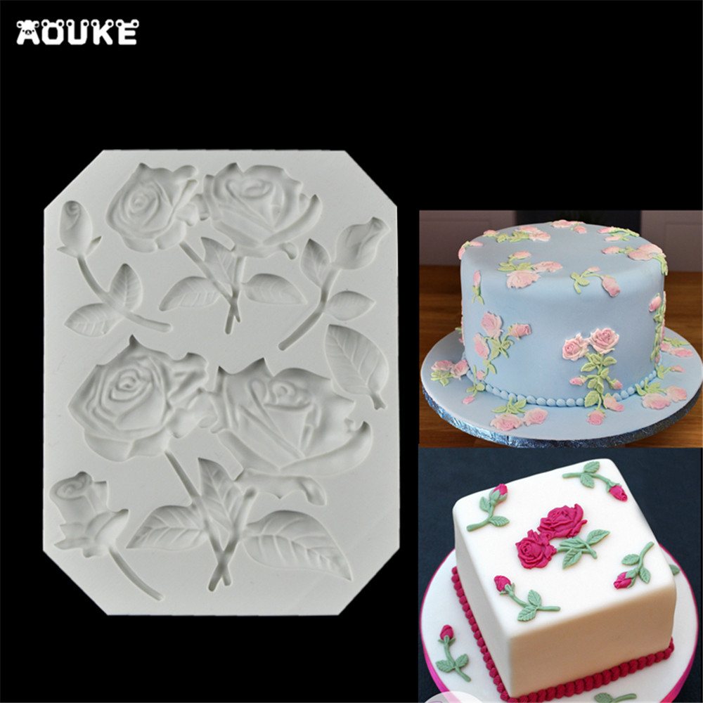 Roses&Flower Shape Fondant Cake Silicone Mold Biscuits Pastry Mould Candy Chocolate Molds Cake Decoration DIY Baking Tools J160