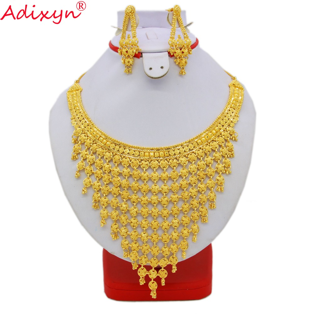 Adixyn India Plus Big Size Jewelry Set Gold Color Copper Necklace Earrings Arab Dubai Wedding Party