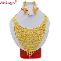 Adixyn Индия плюс большой размер ювелирный набор золотой цвет/медь ожерелье серьги арабский, из Дубая Свадебная вечеринка мама подарки N08093