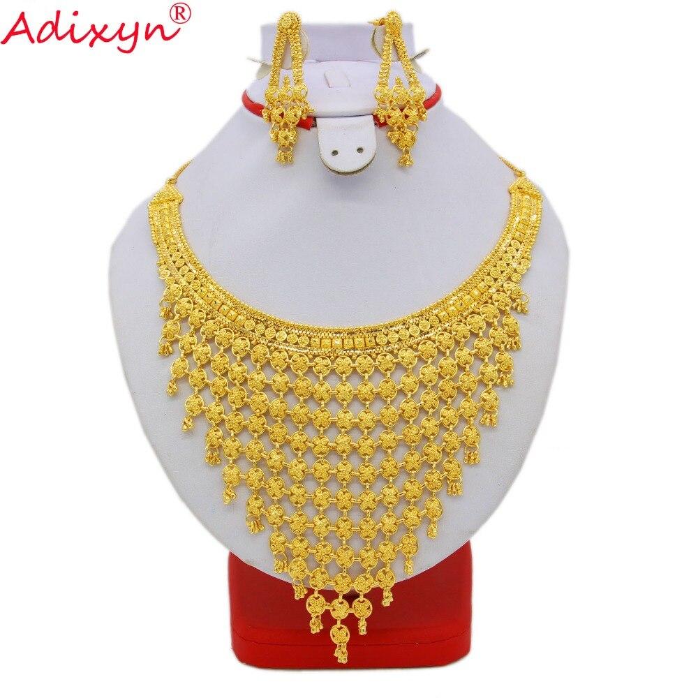 Adixyn Inde Plus Grande Taille Ensemble de Bijoux Couleur Or/Cuivre Collier Boucles D'oreilles Arabe Dubaï Mariage Partie MAMAN Cadeaux N08093