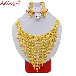 Adixyn Indien Plus Große Größe Schmuck Set Gold Farbe/Kupfer Halskette Ohrringe Arabischen Dubai Hochzeit Party MOM Geschenke N08093