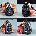 Мода Резьба Статуи Будды Бодхисаттвы Богиня Религия Кулон Черный Обсидиан Бисер Агат Ожерелье Подарок для Парня Девушку