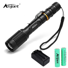 ANJOET LED XML L2 Flashlight Zoomable Torch 5 Mode Tactical Flashlight with Battery Charger for Camping Adventure Night fishing 3 pcs brightest tactical flashlight 8000lm xml l2 led flashlight high powered zoomable torch for emergency camping hiking