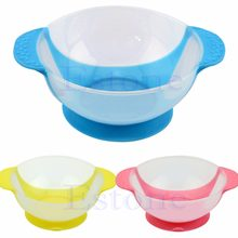 Infant Baby Feeding Suction Base Training Bowl Slip-resistant Bowl Tableware Blue/Red/Yellow(China)