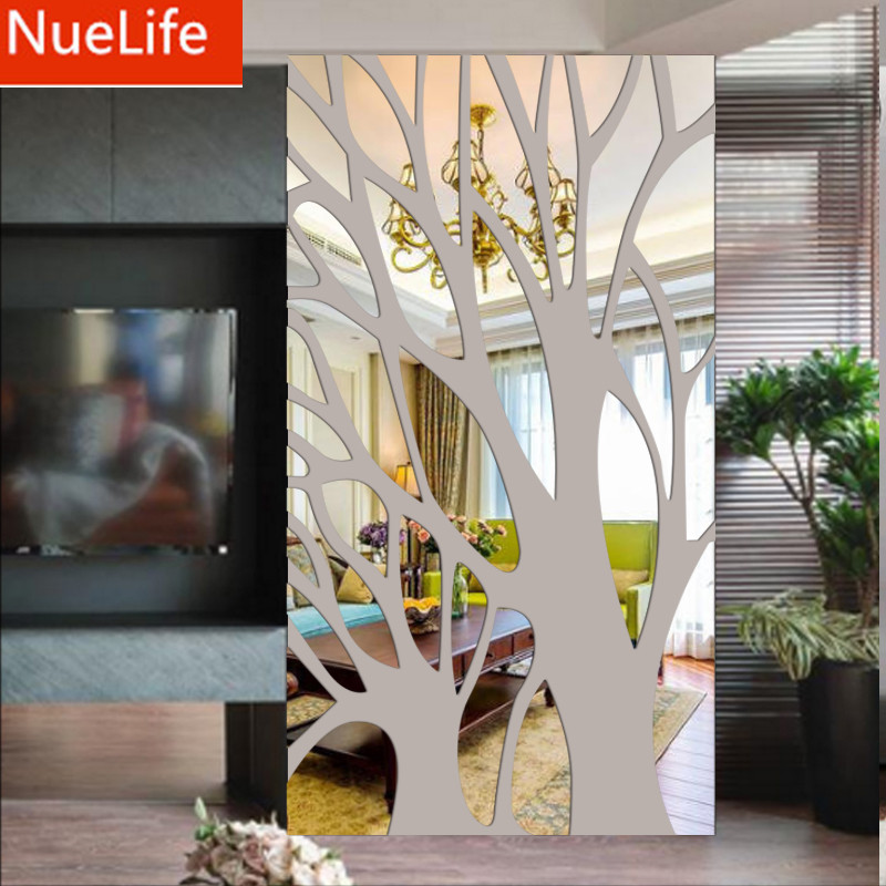 Large Tree Branches Pattern Acrylic Mirror Sticker Bedroom Living Room Entrance Restaurant TV Sofa Background Wall Stickers