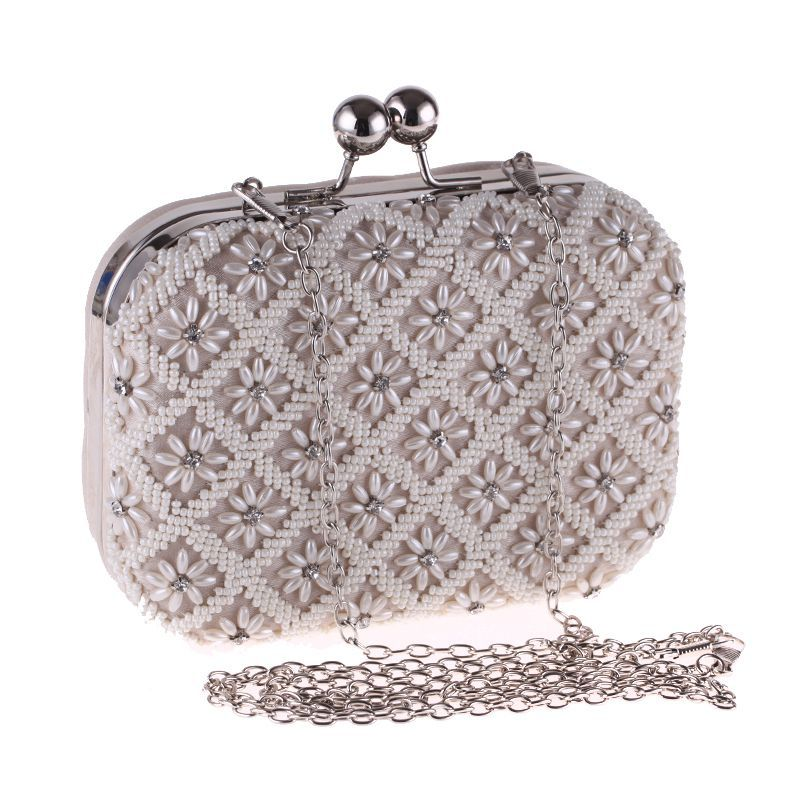 Wild Fashion Apricot Pearl Beading Womens Party Evening Clutch Handbag Solid Pouch Casual Shoulder Bag Crossbody Messenger FlapWild Fashion Apricot Pearl Beading Womens Party Evening Clutch Handbag Solid Pouch Casual Shoulder Bag Crossbody Messenger Flap