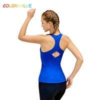 Colorvalue O-Boyun Yoga Spor Tank Tops Kadınlar Nefes Yastıklı Jogging Gym Yelek Racerback Koşu Dans Kolsuz Gömlek