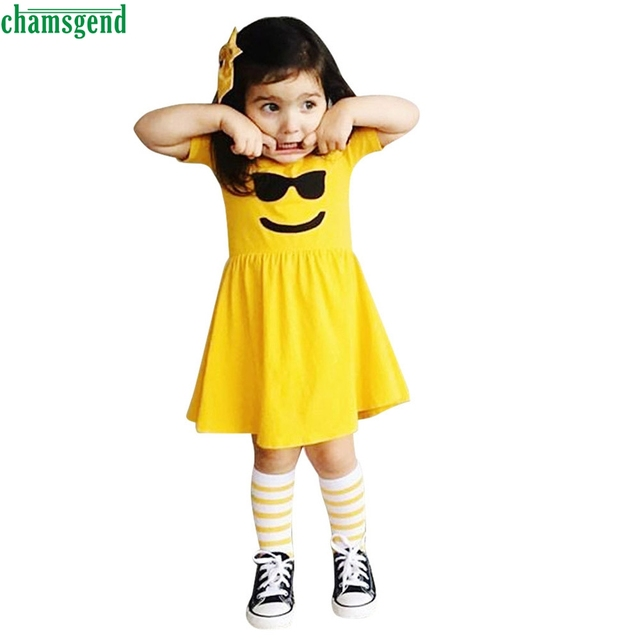 873b97917 CHAMSGEND Toddler Infant Kids Baby Girls Dress Emoji Emoticon Smiley ...