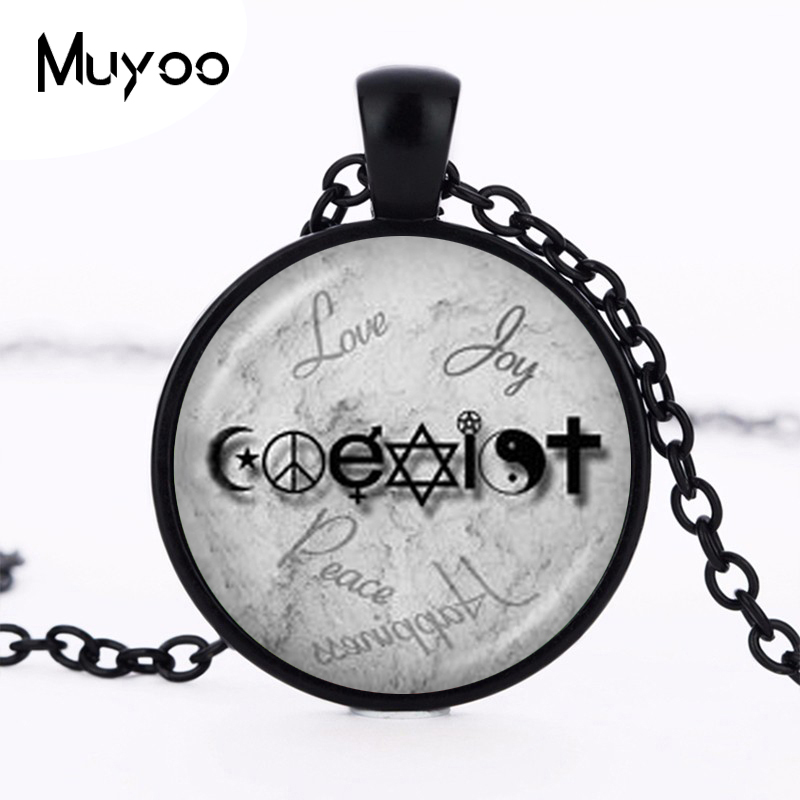 Coexist necklace unity of faith pendant crescent moon jewelry yin coexist necklace unity of faith pendant crescent moon jewelry yin yang pentagram cross hippy love peace sign necklace hz1 in pendant necklaces from jewelry aloadofball Images