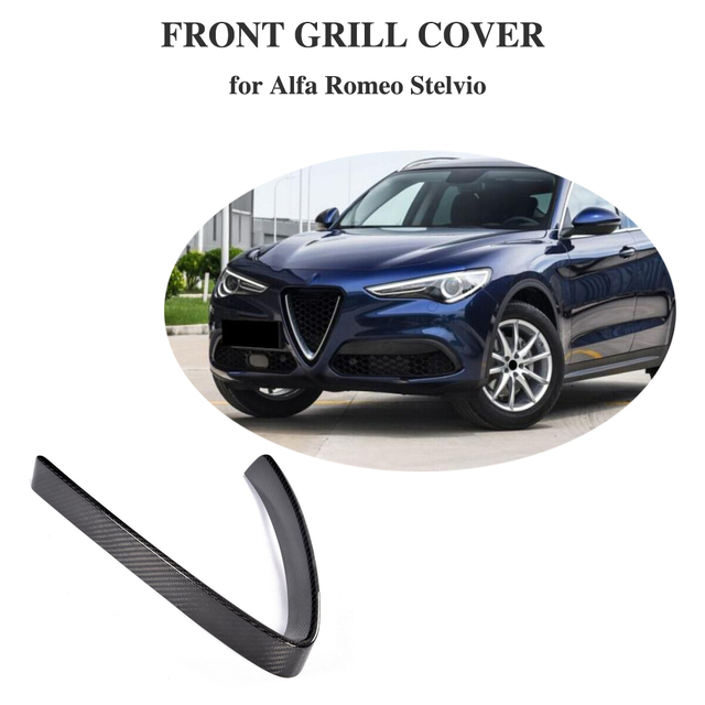 Carbon Fiber Front Grill Mesh Frame Cover For Alfa Romeo