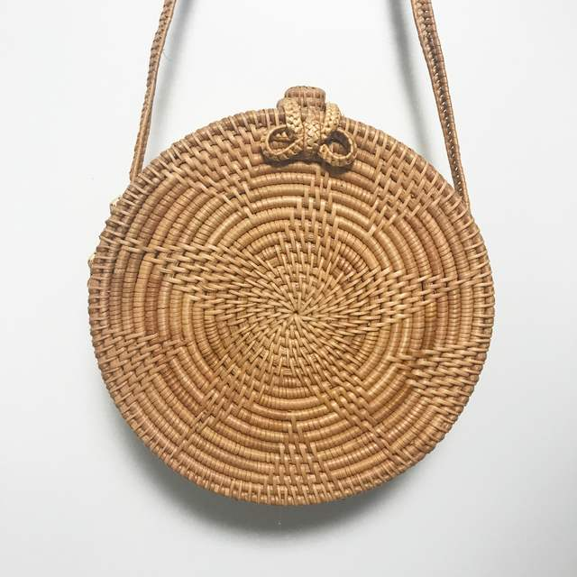 Online Shop Bali Island Hand Woven Bag Round Rattan Straw Bags