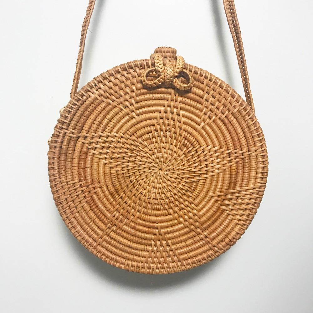 Zhierna bali island hand woven bag round rattan straw bags