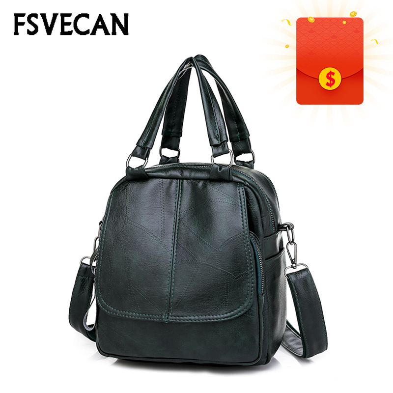 Vintage Leather Small Backpack Women 2019 Multifunctional Mini Crossbody Hand Bag Backpack For School Teens Girls Mochila Mujer Unequal In Performance Backpacks Women's Bags