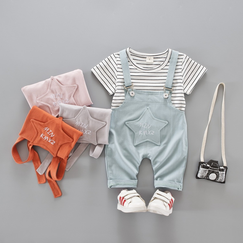 ffb6268ec Summer Baby Girls Striped Print Short Sleeve T-shirt Tops + Star Overalls  Pant Kids Clothing Sets Boys Two Pieces Suits - Best Kids Clothing Stores  Online