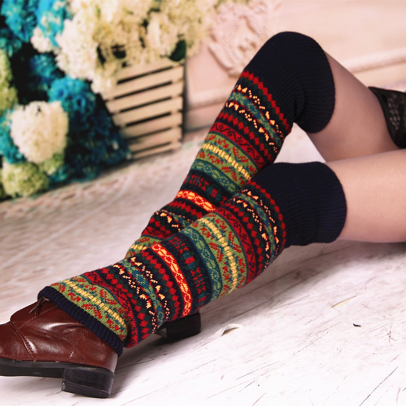 Autumn And Winter Thickened Wool Knee Warmers Bohemian Style Jacquard Knit Warm Leg Protectors Camouflage Vintage Knee Warmers