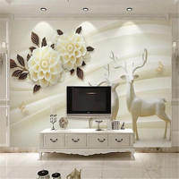 3D Large Custom Wallpapers European Ball Flowers Photo Murals Leaf Striped Walls Papers For Living Room
