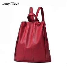 2017 женщины кожа рюкзак простой стиль ежедневно рюкзак черный красный синий случайные back pack высокое качество девушку сумка zd462