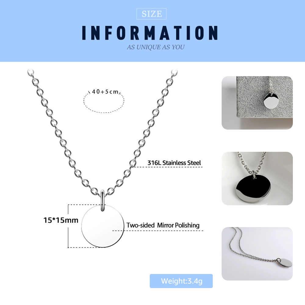 2018 Новинка FINE4U N027 диск Кулон ожерелье Золото/серебряная буква Alfabet ожерелье 316L из нержавеющей стали цепь ожерелье для женщин
