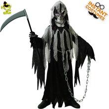 Halloween do miúdo mr. grim traje cosplay crianças horror morte vampiro halloween cosplay trajes de festa