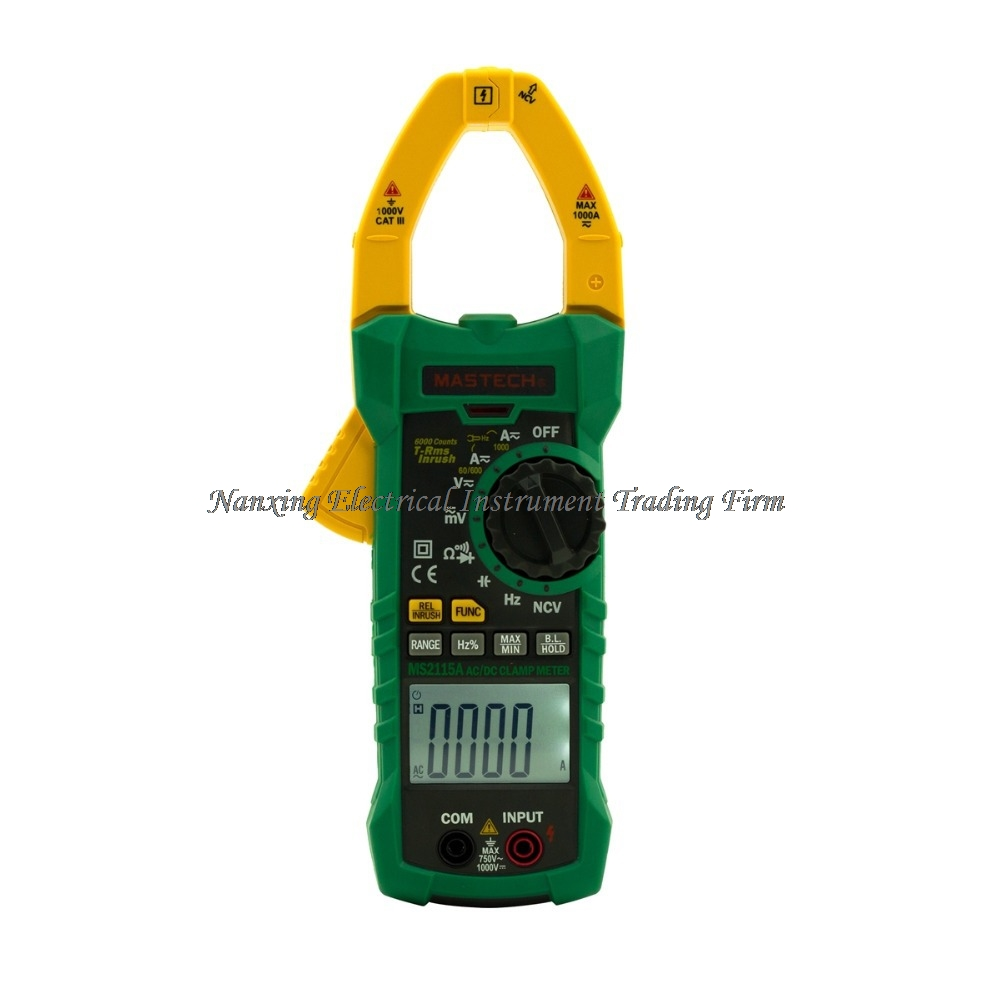 Mastech MS2115A Digital Clamp Meter 6000 Counts True RMS AC/DC Voltage Current Tester with INRUSH and NCV Measurement mastech ms2115b digital ac dc clamp metewith 6000 counts ncv true rms ac dc voltage current tester detector with usb