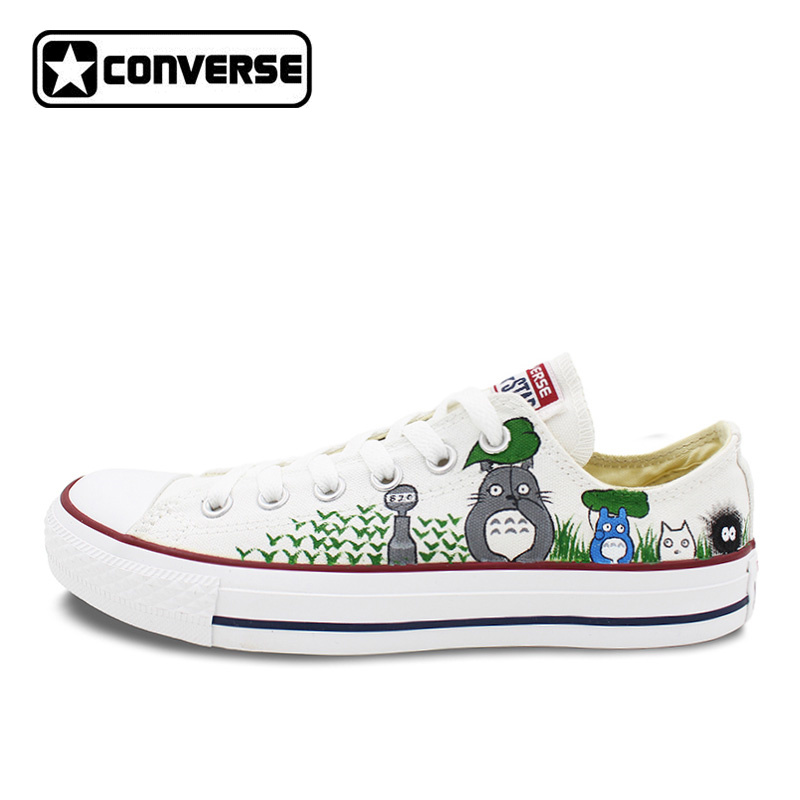 Low Top Women Men Converse All Star My Neighbor Totoro Design Custom Hand Painted Shoes Woman Man Canvas Shoes Boys Girls sneakers men women converse all star anime fairy tail galaxy design custom hand painted shoes man woman christmas gifts