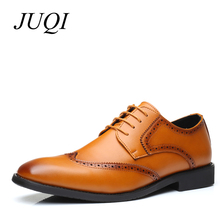 JUQI Luxury Brand PU Leather Fashion Men Business Dress Loafers  Black Shoes Oxford Breathable Formal Wedding