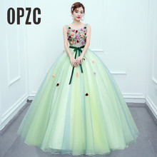 2018 New Arrival Cabdy Color Sweet Evening Dress Princess Ball Gown  Bow Fresh Flower Cut out Fashion for Formal Performance